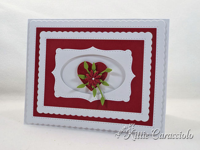 Use a die cut heart for a Valentine and anniversary card.
