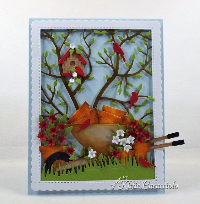 Come check out my handmade die cut garden scene card perfect for a flower lover.