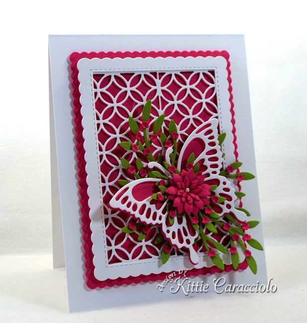 Come see how I made this pretty lattice and butterfly with flowers card.