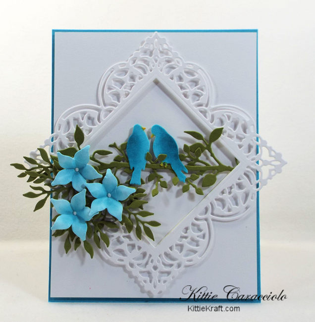 Come check out how I made this lovely die cut bird, branches and flowers card using Impression Obsession dies.