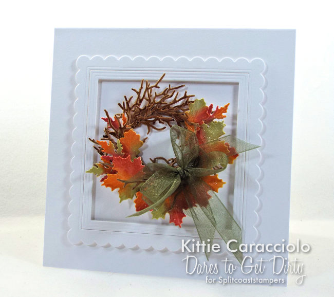 Come see how I made this colorful die cut fall leaf wreath card.