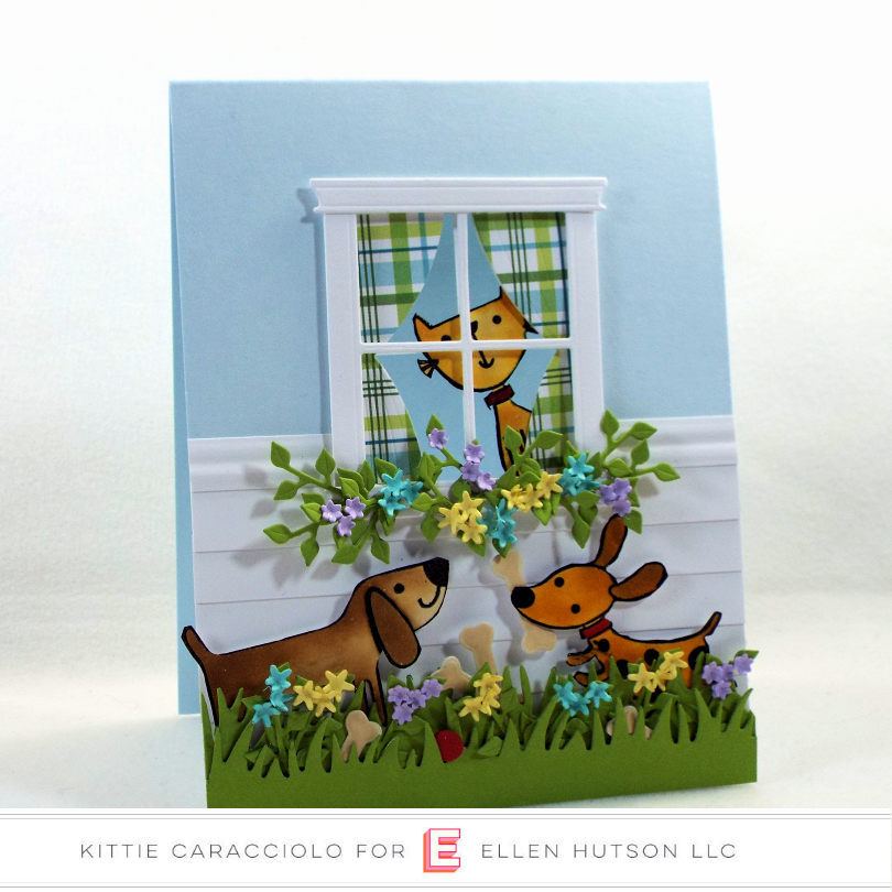 Come see how I made this fun doggie die cut scene card with the cat in the window.