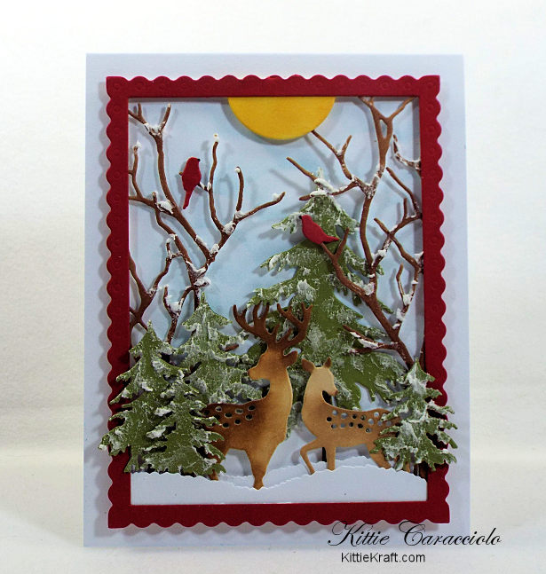 Come check out how I made this pretty die cut snow scene with deer.