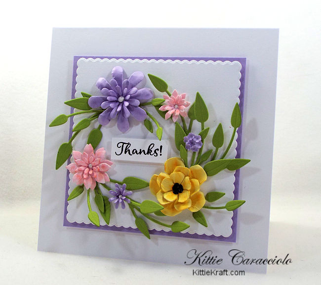 Come see how I made this die cut paper flower wreath card.
