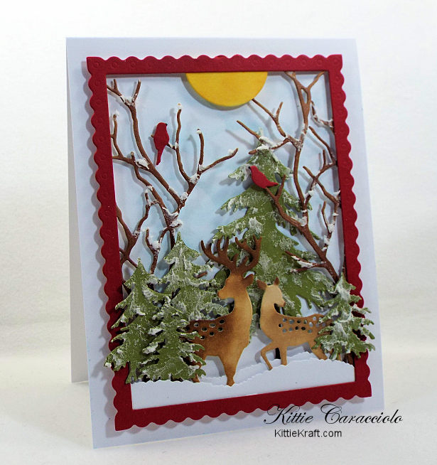Come see how I made this lovely die cut snow scene with deer.