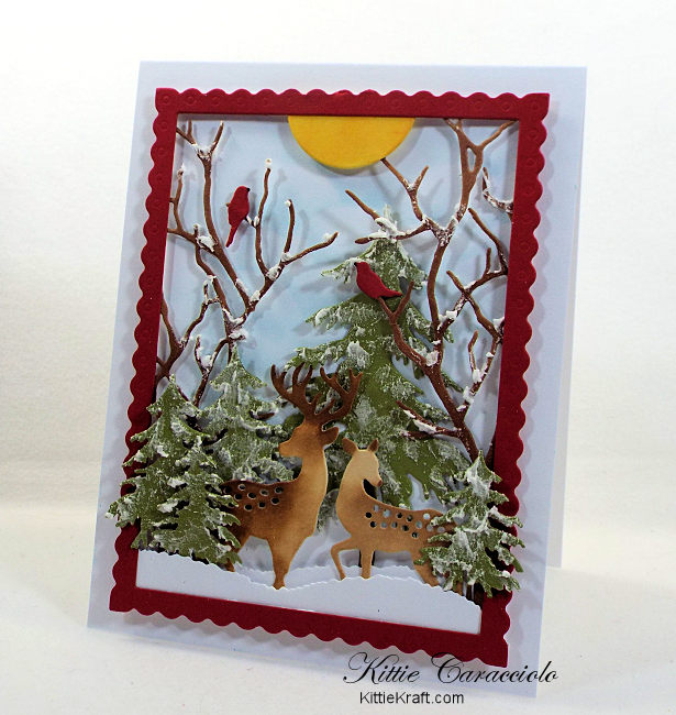 Come see how I made this pretty die cut snow scene with deer.