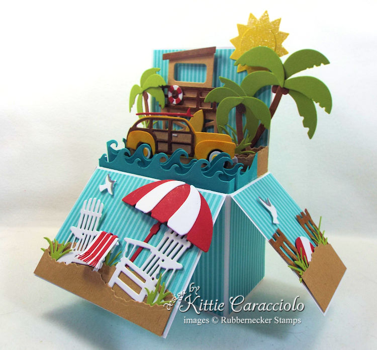 Come see how I made this bright beach pop up card.