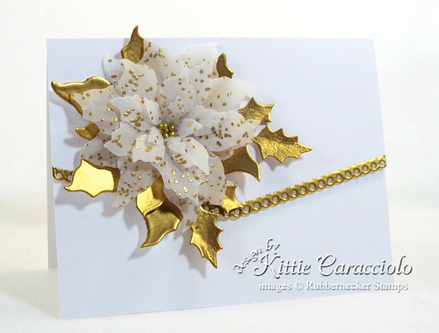 Come see how I made this gold embossed vellum poinsettia card.