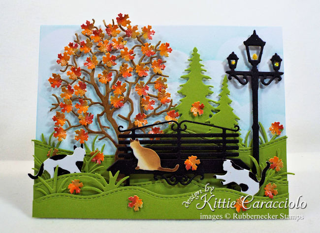 Come over to my blog to see how I made this colorful autumn leaves card with kitty cats.