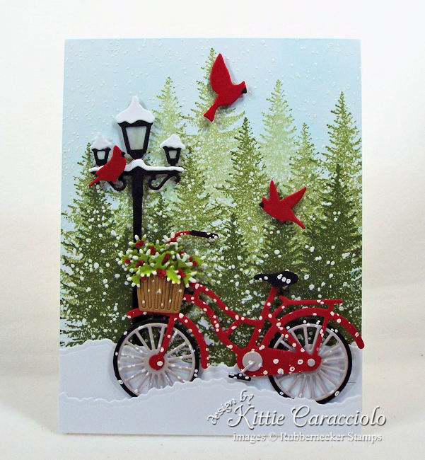 Come see how I made this pretty snowy Chritmas card.