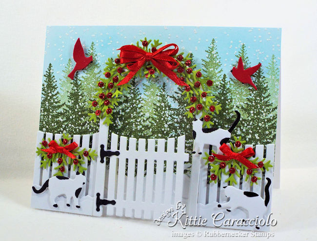 Come see how I made this whimsical Christmas card with cats and garden arbor.