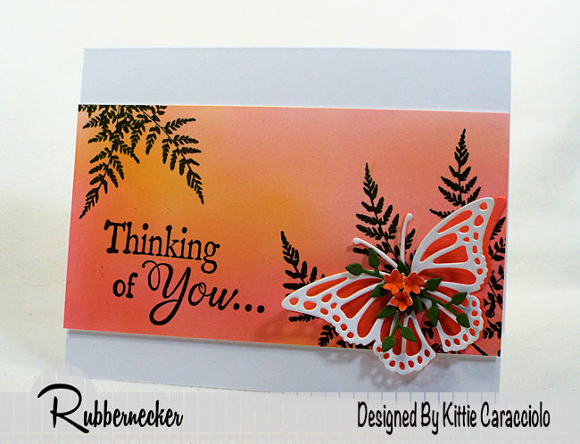 Come check out how I made this colorful butterfly thinking of you card using stamps and dies made by Rubbernecker Stamps.