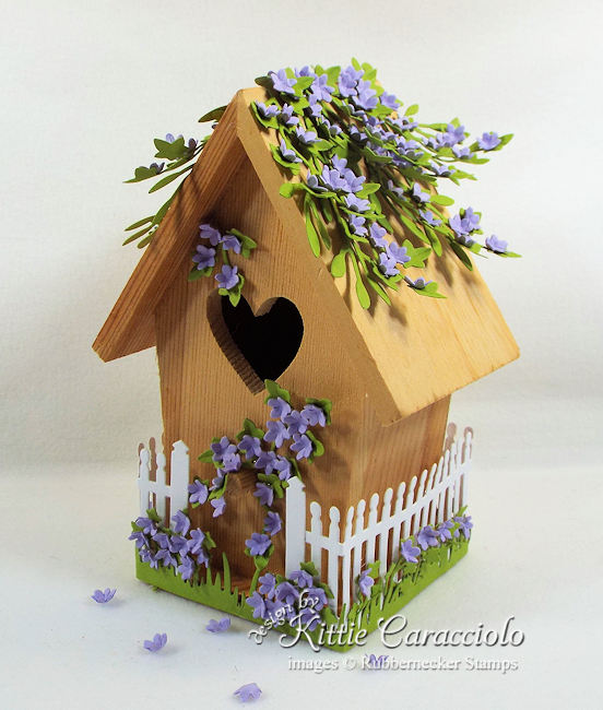 Come see how I created this decorative bird house with a pretty purple flower theme.