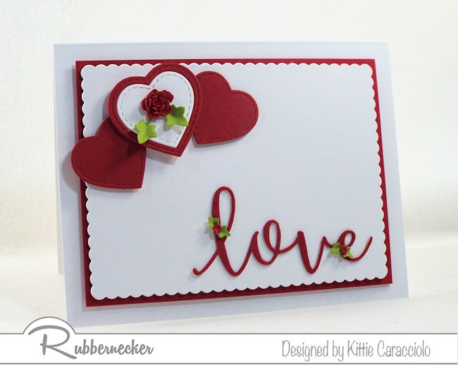 I love the simplity of this hearts and love Valentine card. Click thru to see how I layered the hearts and popped up the sentiment.