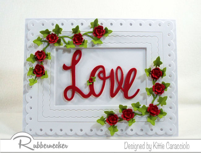 It's always fun to use red, white and green to create a love sentiment card with flowers and ivy for Valentines Day. Click thru to see how I made this elegant card.