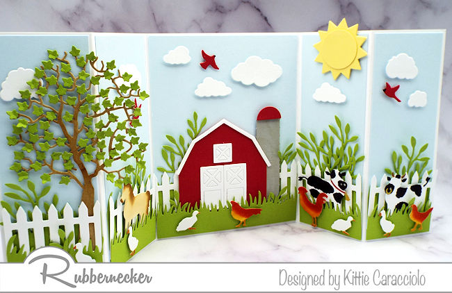 My farm scene card features some cute animals but this would be just as cute with your favorite fruits and veggies - come see how!