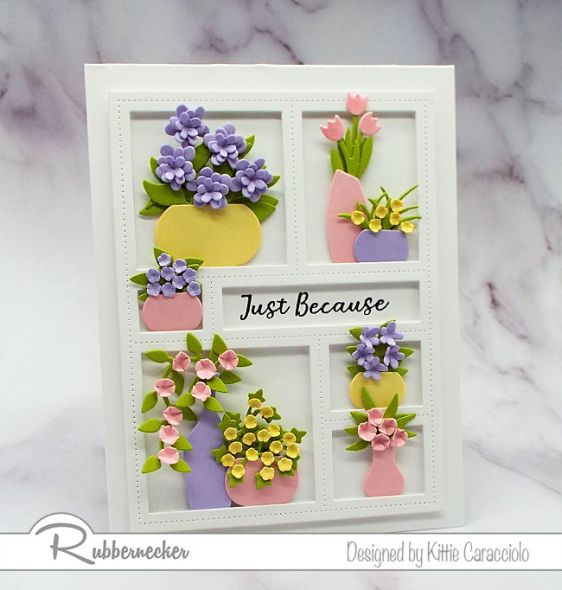 I love to decorate a window frame die with lots of vases and flowers.  Come over to my blog and check out how I made this pretty card.