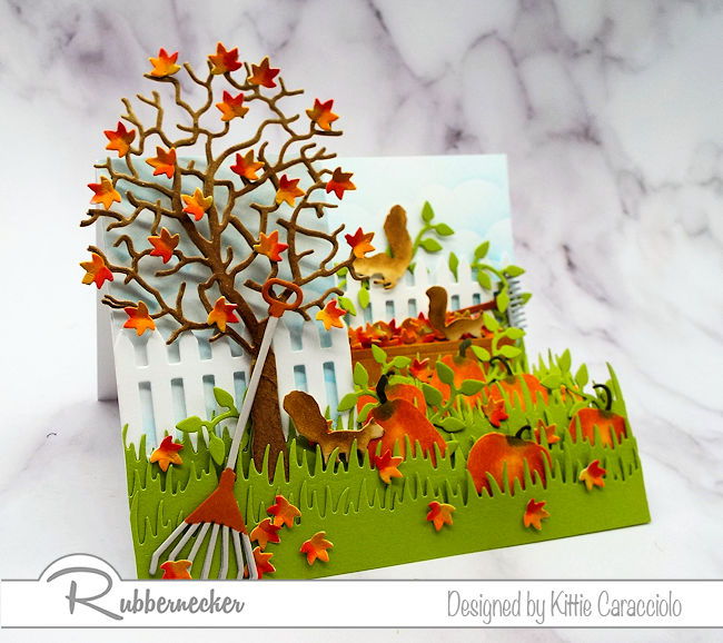 It is so much fun to create a dimensional scene like this fall side step card.  Click on the picture to see how I made this colorful card.