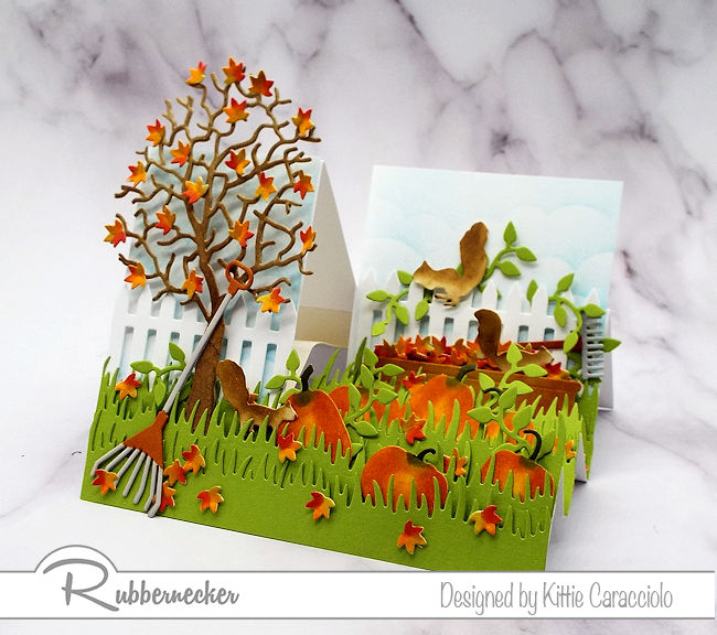 It is so much fun to create a dimensional scene like this fall side step card.  Click on the photo to see how I made this card.