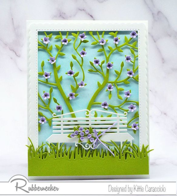 I love creating feminine greeting cards with floral themes and pretty color combinations.  Click on the picture to see how I made this pretty card using dies by Rubbernecker.
