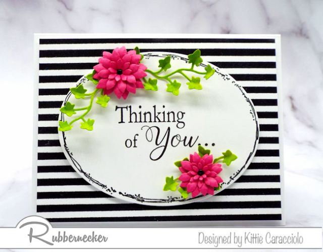 Frame a sentiment with flowers and highlight the layer by placing it on a card base with a bold background.