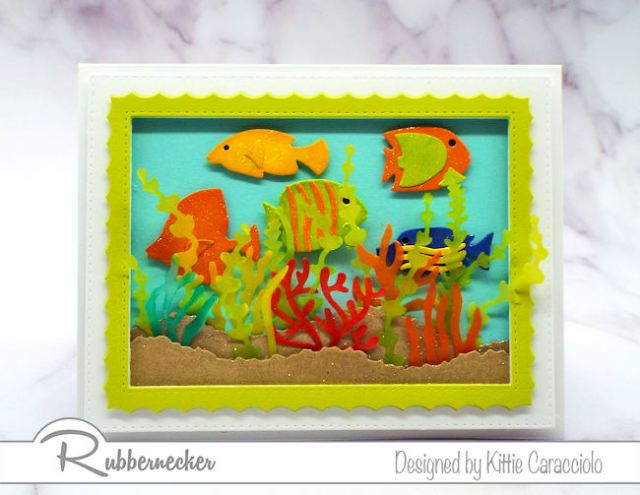 This under the sea card with its brightly colored fish and translucent seaweed and coral is perfect to send to a scuba diver.  .