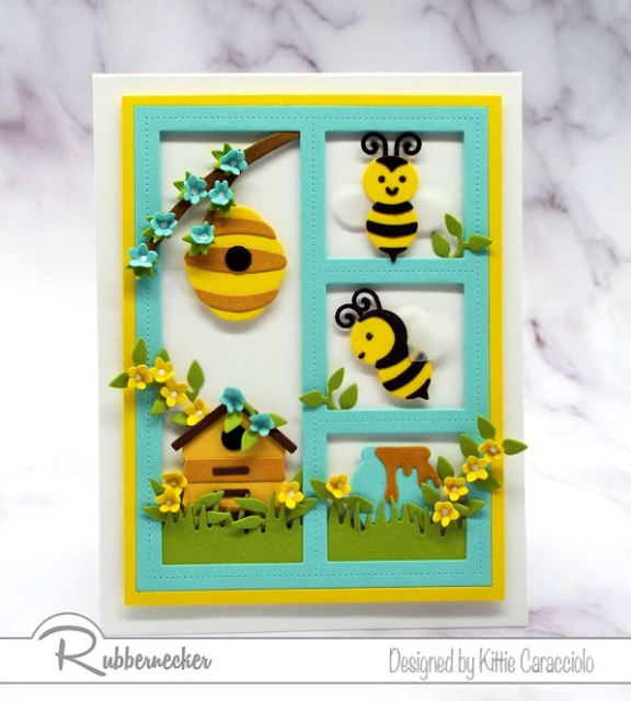 I had so much fun creating this framed honey bee card with the newly released Rubbernecker Bee with Hive and Bee with Honey Pot sets.