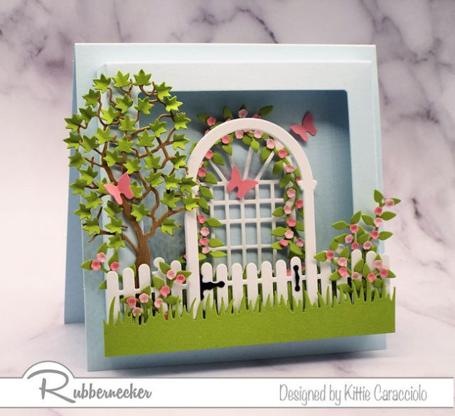 Creating dimensional cards is so easy using this new square shadow box frame by Rubbernecker.