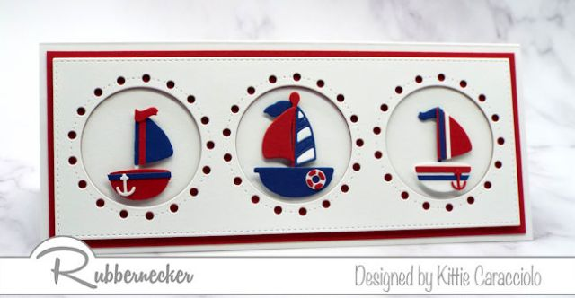 I kept the colors for this slimline nautical card to just three to keep it crisp and summery - come check it out!