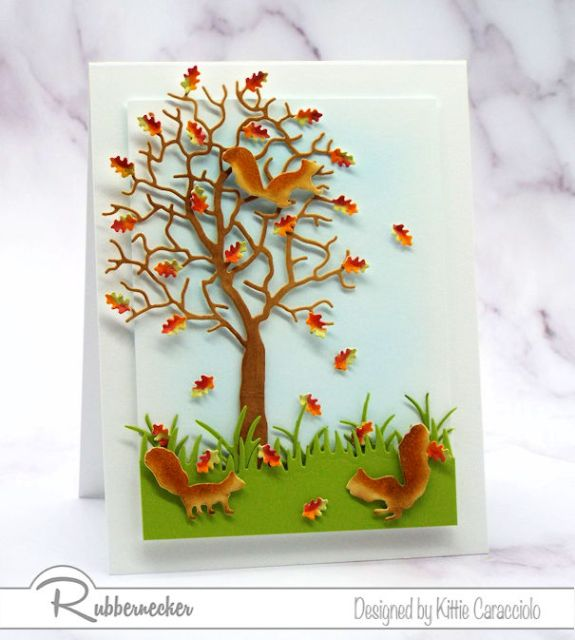 Several card making details are shown using a fall themed card with shaped leaves and a popped up layer