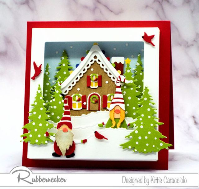 An adorable Gnome Shadow Box Card using forced perspective to create a snowy scene
