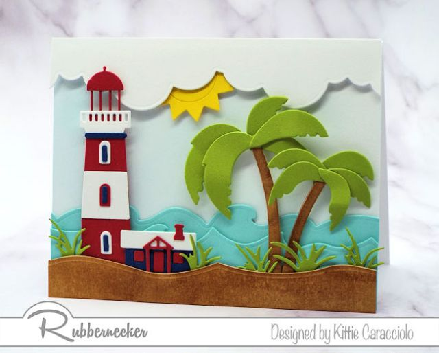 A handmade greeting card showing a seaside lighthouse and palm tree to illustrate how altering die cuts can make them fit any project