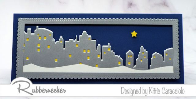 Die cuts made using a new slimline skyline die from Rubbernecker layered on a card front to show a nightime scene