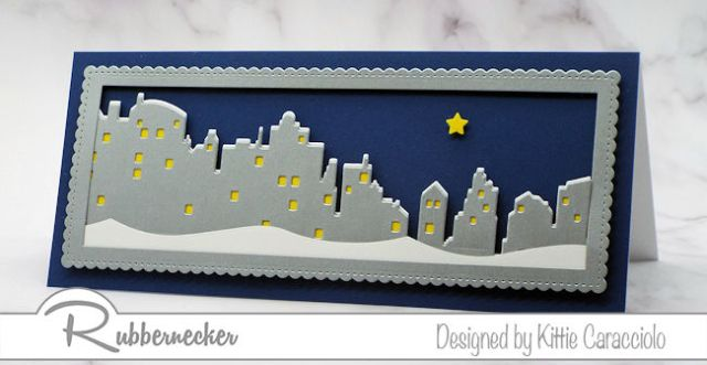 A scenic nighttime skyline on a slimline card made using a new slimline skyline die from Rubbernecker