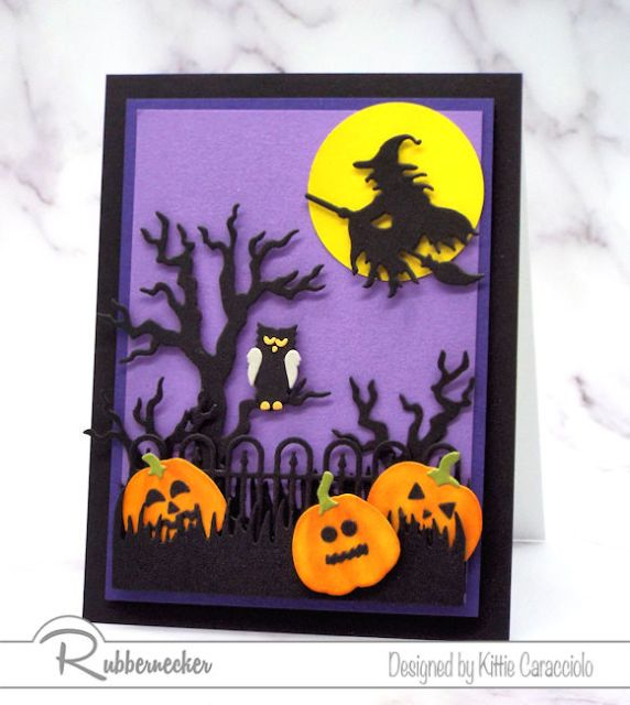 An example of spooky halloween cards using an eerie tree, witch silhouette and wrought iron fence die cuts all from Rubbernecker