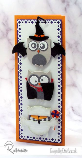 One of my cute Halloween cards featuring die cut owls dressed in an assortment of owl costumes!