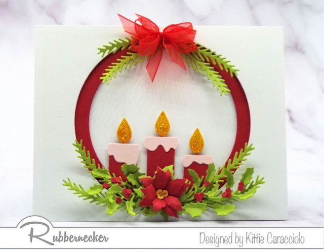 One way to make your own Christmas cards using die cuts in a circular window on a card front