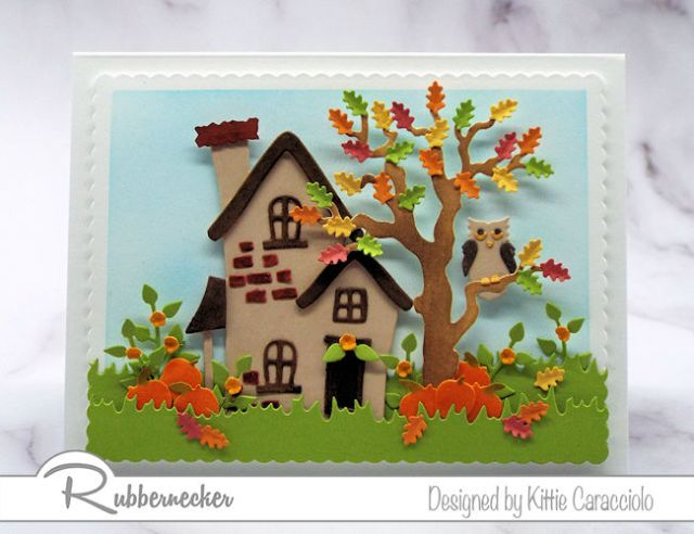 Handmade cards with colorful fall leaves and pumpkins arranged are so fun to make with die cuts.