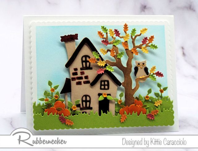 Fall cards featuring colorful die cut fall leaves and pumpkins and an owl in a tree for a classic Fall scene.