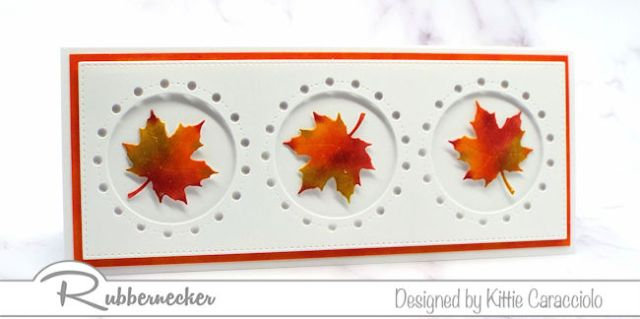 an example of fall card ideas on slimline cards featuring hand inked and die cut maple leaves inside openings cut with a slimline insert die using all products from Rubbernecker