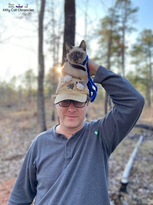 Piedmont with Kylo Ren & Gryphon - cat on man's head