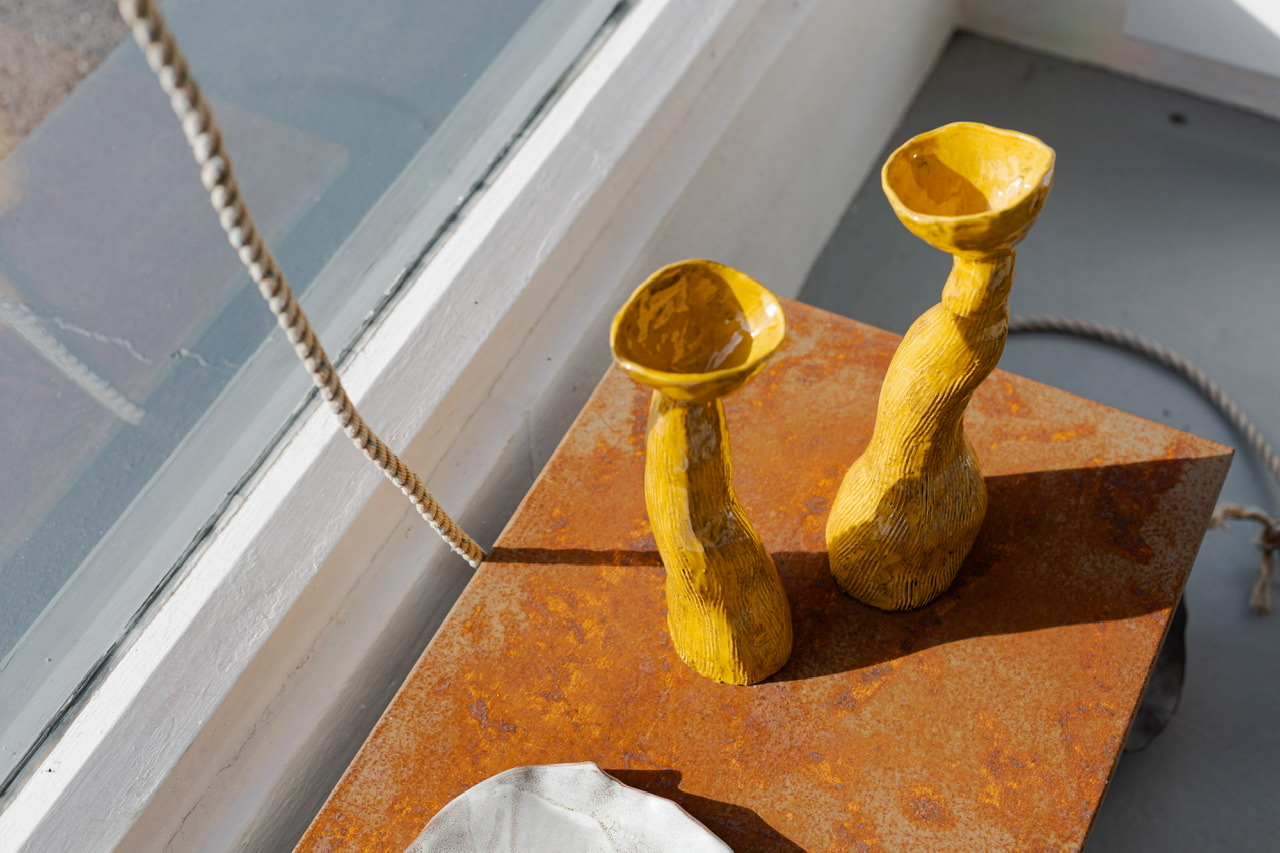 Two yellow clay forms by Kitty Hillier 2020