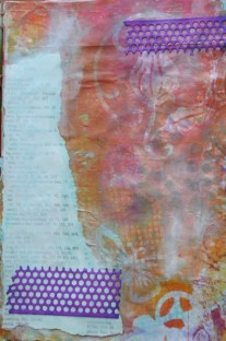 gelli print and book text