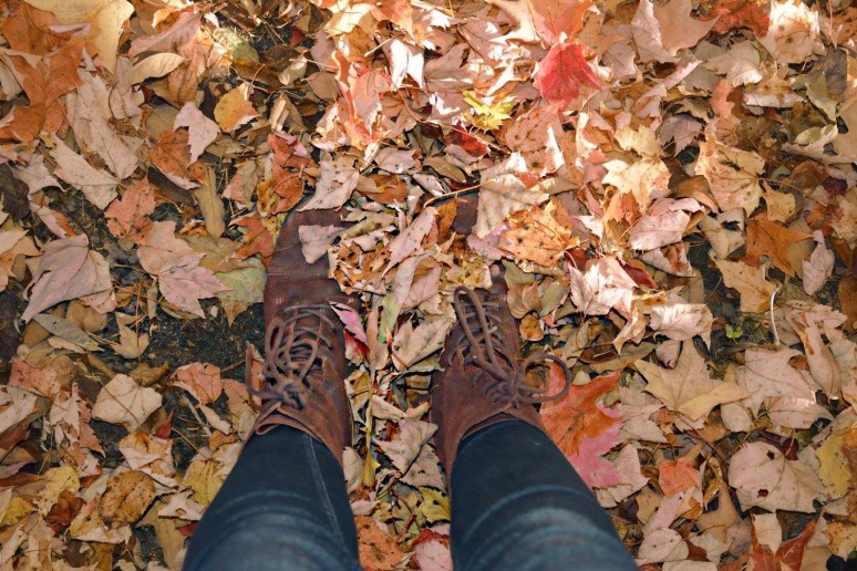 Fall leaves red boots