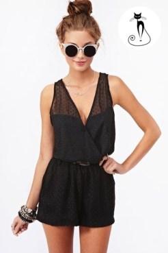 Чёрный полупрозрачный комбинезон- 26 модных летних комбинезонов - лето 2014