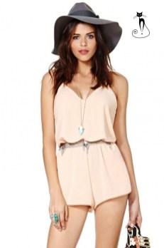 Розовый комбинезон и шляпка - 26 модных летних комбинезонов - лето 2014