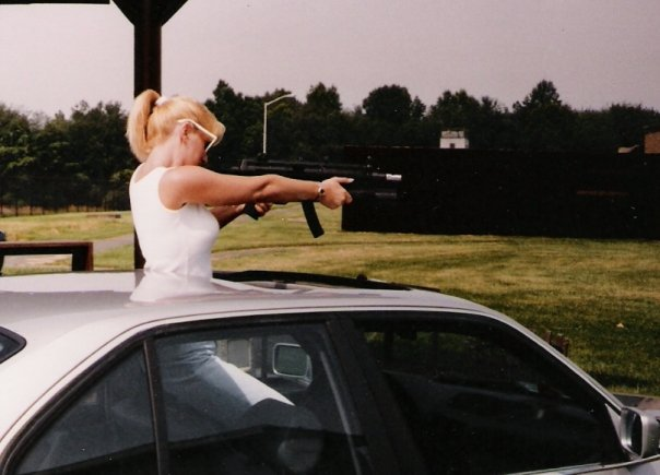 China Rose ~ w/MP5 @ FBI firing range, circa 1992