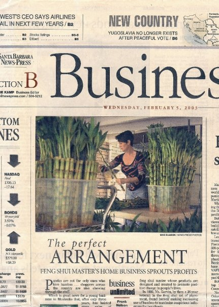 China Rose ~ Business Unlimited, Santa Barbara News Press article, Glen Oaks, Montecito, SB, CA, circa 2003