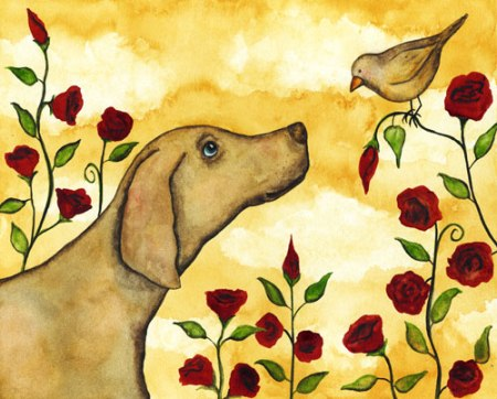 Dog and Bird Rose Floral