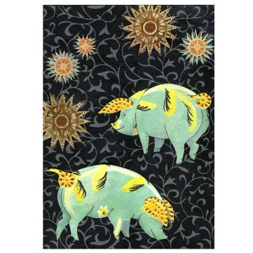 Night Sky Stars with Pigs